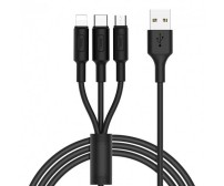 Кабель 3 в 1 Hoco Micro USB+Lightning+Type-C X25 100см  2A  Black