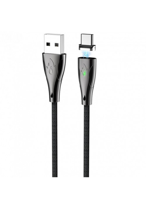 Магнитный кабель Hoco USB U75 Lightning Cable LED magnetic Blaze 1.2M 3A Black